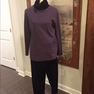 Top and velvet pants
